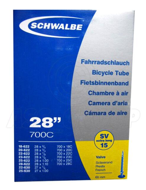 SCHWALBE SV15  700 X 28C  BIKE INNER TUBE 60mm PRESTA VALVE QUANTITY RATE