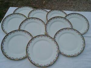 10-Grandes-Assiettes-a-dessert-Anciennes-en-Porcelaine-Jolie-frise-Pts-roses
