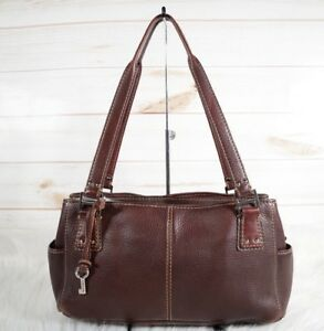 Image Is Loading Fossil 75082 Brown Pebbled Leather Handbag