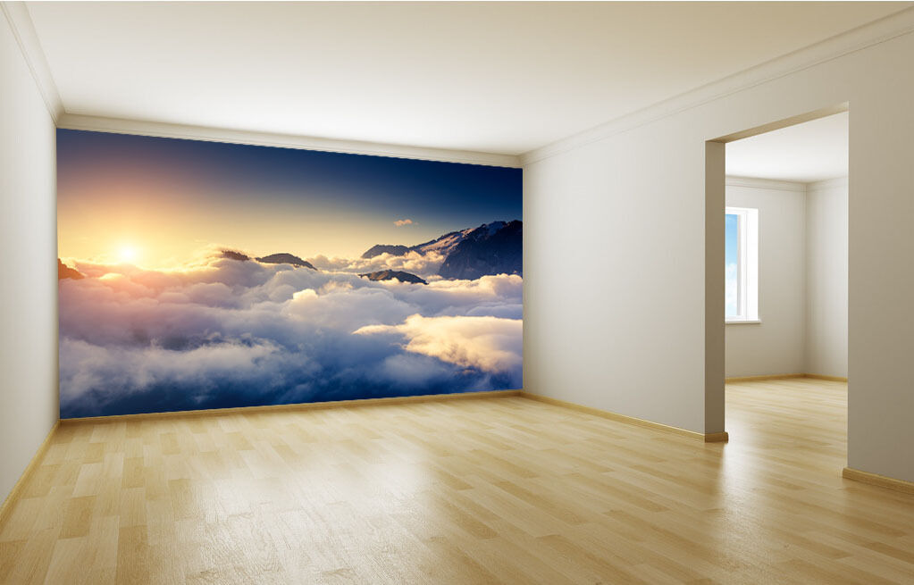 3D Weiß Coulds Sunrise Paper Wall Print Wall Decal Wall Deco Indoor Murals
