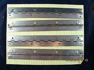 "Lot Of (4) 1 ½"" X 10 ½"" Drilled Stainless Steel Piano Hinge 0.04"" (20 Gage)[B2S4"