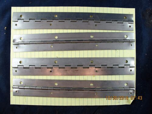 """Lot Of (4) 1 ½"""" X 10 ½"""" Drilled Stainless Steel Piano Hinge 0.04"""" (20 Gage)[B2S4"""
