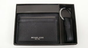 d296768360e1 Details about MICHAEL KORS MENS Leather Card Case and Key Fob Set with Gift  Box NWT $98