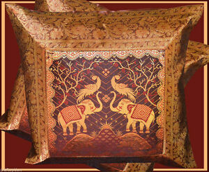 PAIR-TWO-SILK-BROCADE-PILLOW-CUSHION-COVER-DARK-CHOCLATE-GOLDEN-FROM-INDIA