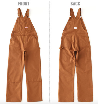 Round House Bib Overalls 83 Made In Usa Brown Duck Heavy
