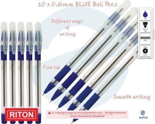 RITON Docomo 10 x 0.6mm Fine Biros BLUE Smooth Ballpoint Pens Soft Rubber Grip
