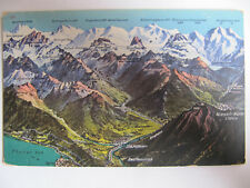 Bernese Alps, Switzerland - Vintage Postcard Showing Heights of Mountains