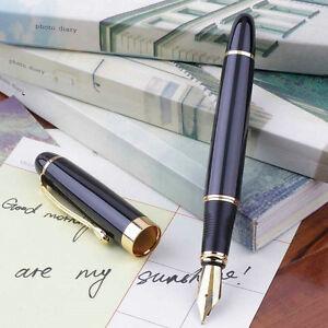 Jinhao X450 Fountain Pen Black Mordern Medium Nib Gold Trim New Perfect CT