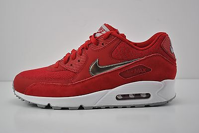 2022cf1acd Men Nike Air Max 90 Essential Running Shoe Size 9 Red White Silver 537384  602