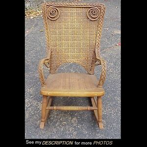 Ordinaire Image Is Loading Antique Child 039 S Wicker Rocker Heywood Bros