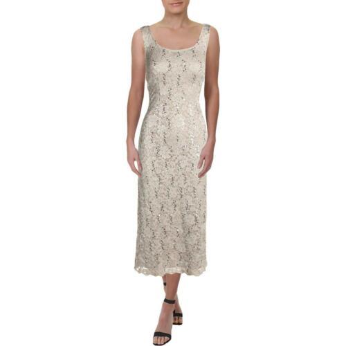 R/&M Richards Womens Beige Lace Sleeveless Cocktail Dress 8 BHFO 5233