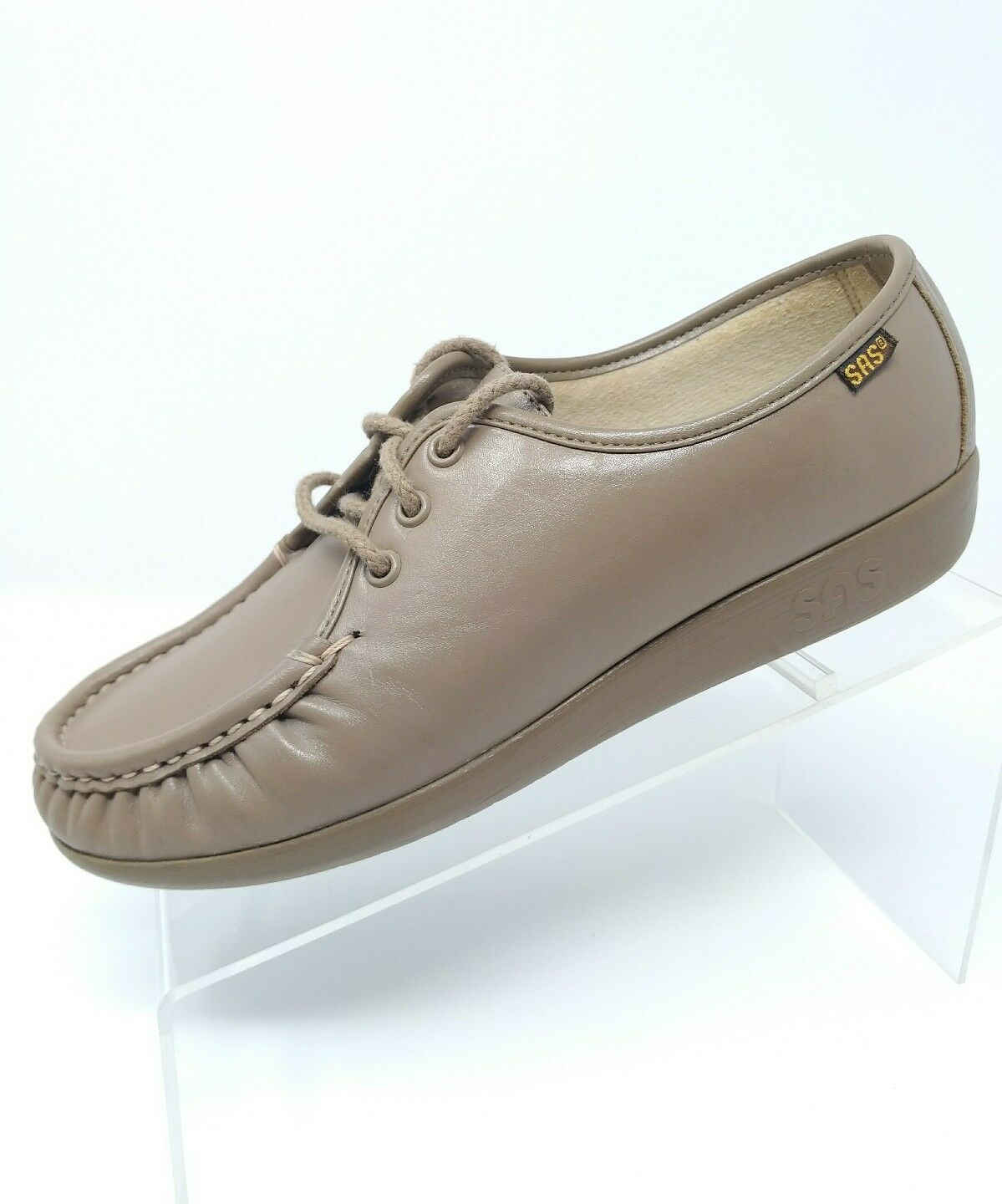 SAS Womens Lace Up Comfort shoes Sz 8 M Beige Nude Leather Casual Career Loafers