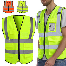 Neon Safety Vest Reflective High Visibility Construction Vest With 5 Pockets Xl