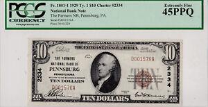 10-00-1929-T1-Farmers-National-PENNSBURG-Pennsylvania-PA-Highest-Graded-Known