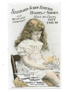 RARE C.1890 STANDARD SCREW FASTENED BOOTS + SHOES VICTORIAN TRADE CARD