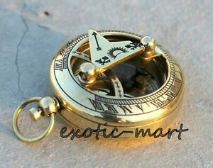 Shiny-Brass-Sundial-Push-Button-Compass-Maritime-Vintage-Pocket-Compass-Gift-2-034