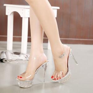 28a3e17f6a2e Women Sexy Platform Stiletto Ankle Strap Open Toe Sandal High Heels ...