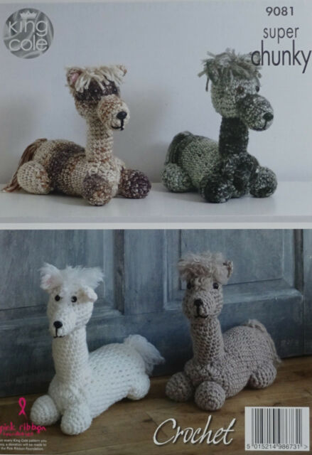 King Cole 9081 Crochet Pattern Alpaca Toy Doorstop In Big Value
