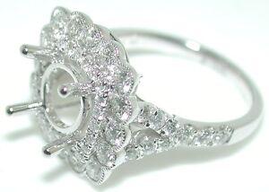 1-57CT-Cushion-Flower-Double-HALO-DIAMOND-Engagement-Mounting-RING-Setting-14KW