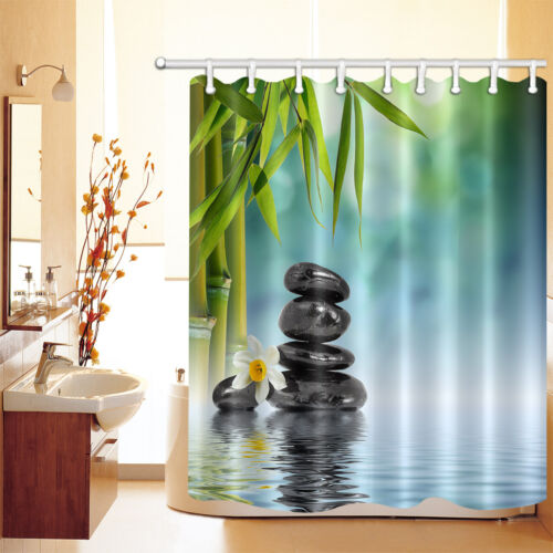 Spring Water Spa Shower Curtain Set Polyester Bathroom Decor Mat Rug Bamboo Zen