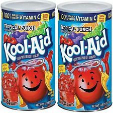 New 2 Cans 34 Qt each Kool-Aid Tropical Punch Drink Mix Sugar Sweetened Kool Aid