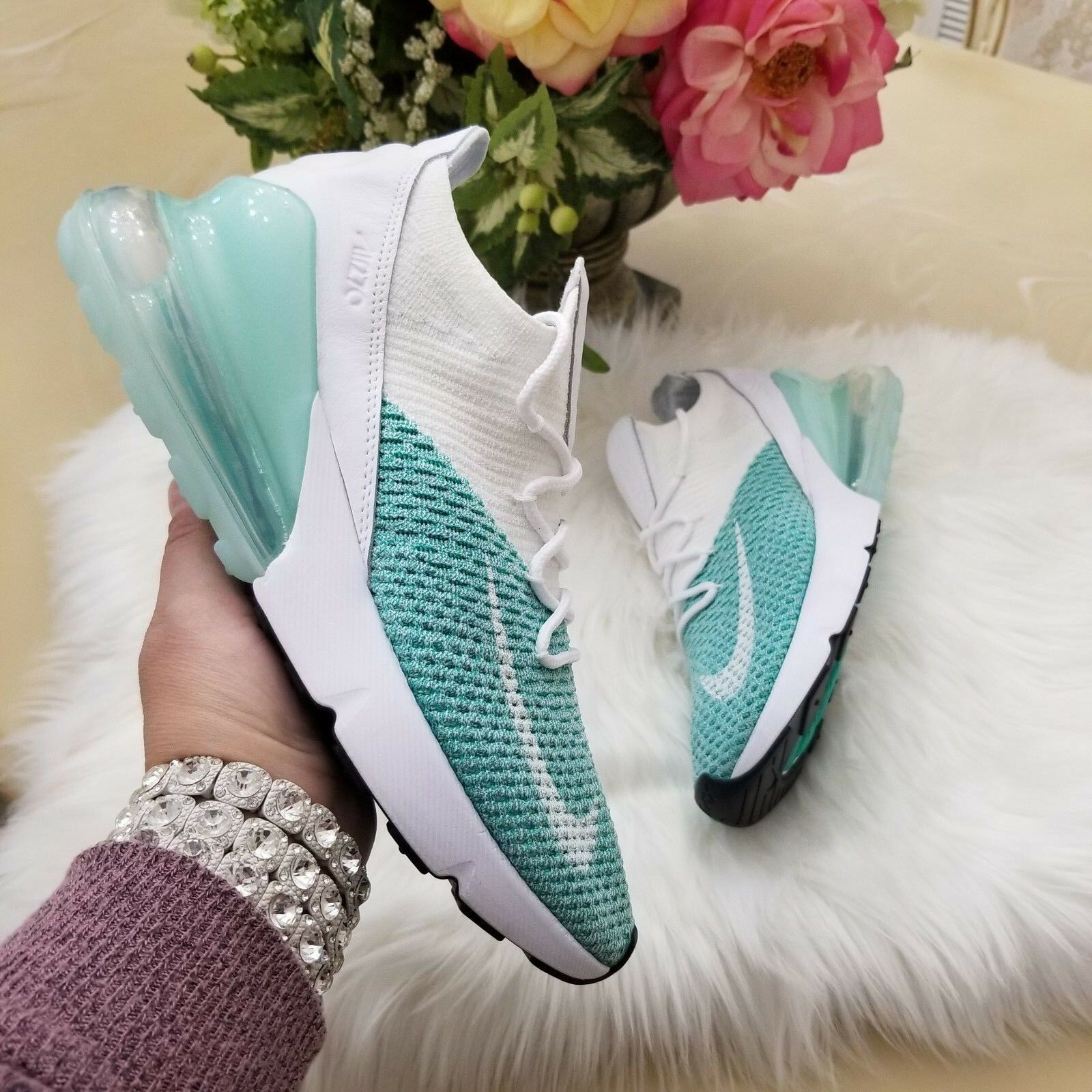 589ce90be6145 Nike Air Max 270 Flyknit Women s Shoes 301 Size 7.5 Igloo White AH6803 301  Shoes 2bdd39