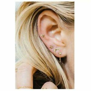 UK SELLER Moon Shape Stainless Steel Tiny Small Stud Earrings LADIES WOMENS MEN
