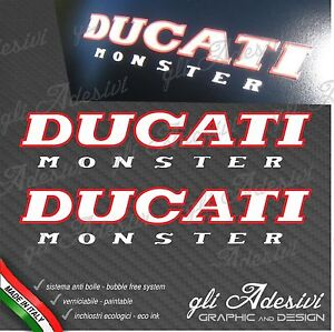 Pair Stickers Ducati Monster Old White Red Border M 900 600 750 Ebay