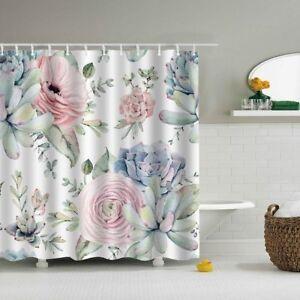 Image Is Loading Pink Green Floral Leaf Design Shower Curtain 12