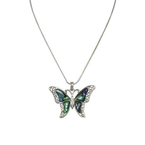 Take Flight Paua Shell Butterfly Silver Tone Pendant Necklace