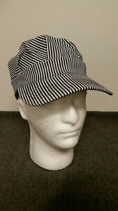 Railroad-Engineer-Striped-Hat-Adult-Size-Perfect-for-your-RR-patches-or-Pins
