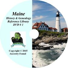 MAINE History & Genealogy - 220  Books on DVD, Ancestors, Family, County, CD, ME