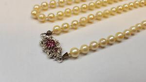 Echtschmuck Perlencollier Perlenkette Mit Rubine Rubin In Aus 333er Weissgold Perle Perlen Uhren & Schmuck