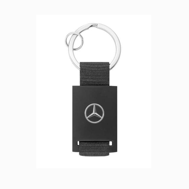 Genuine Mercedes Benz Key Ring, Blacku0026Silver, Diecast Zincu0026Leatherette  B66956287