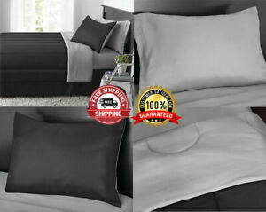 New 8 Piece Black Gray King Size Comforter Set Bedspread Bed in a Bag Sheets NWT