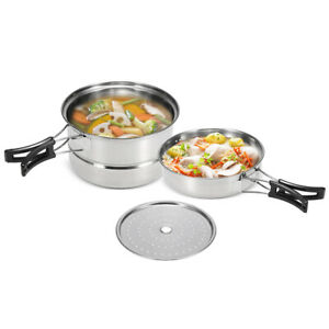 3Pcs-Camping-Cookware-Set-Stainless-Steel-Pot-Frying-Pan-Steaming-Rack-D6Y3
