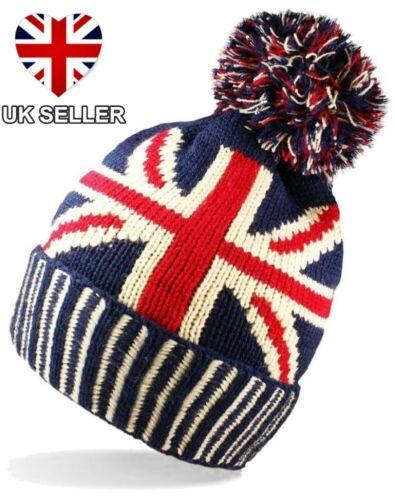 Nouveau Tricot Union Jack Bobble POM ski chapeau d/'hiver la Grande-Bretagne Drapeau Britannique UK Vendeur