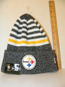 2f016103cad Pittsburgh Steelers Knit NFL New Era stripe Chill Hat Winter Pom ...