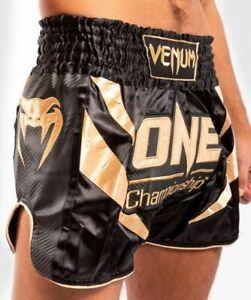 VENUM ONE FC IMPACT MUAY THAI BOXING SHORTS - BLACK/GOLD - 04037-126 L, XL sizes