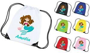 8b6ad20b2a56 Detalles de Linda Personalizada Bonito Sirena Gimnasio Bolsa Danza Pe  Sports Escuela