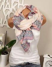 Halstuch Schal Stola Rosa Pink Ethno-Muster Pastelltöne Fransen Übergang Blogger