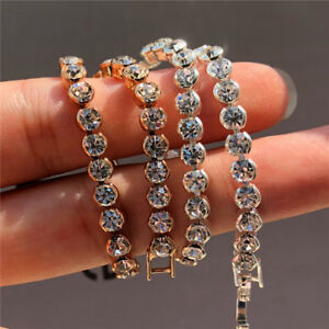 925-Silver-Round-CZ-Zirconia-Iced-Out-Tennis-Bracelet-Bride-Jewelry