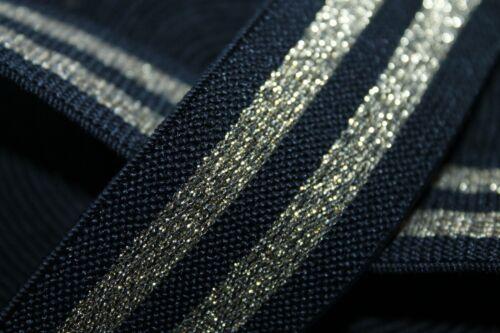 Zierband 1 Meter Elastikband Gummiband schwarz//gold 38 mm