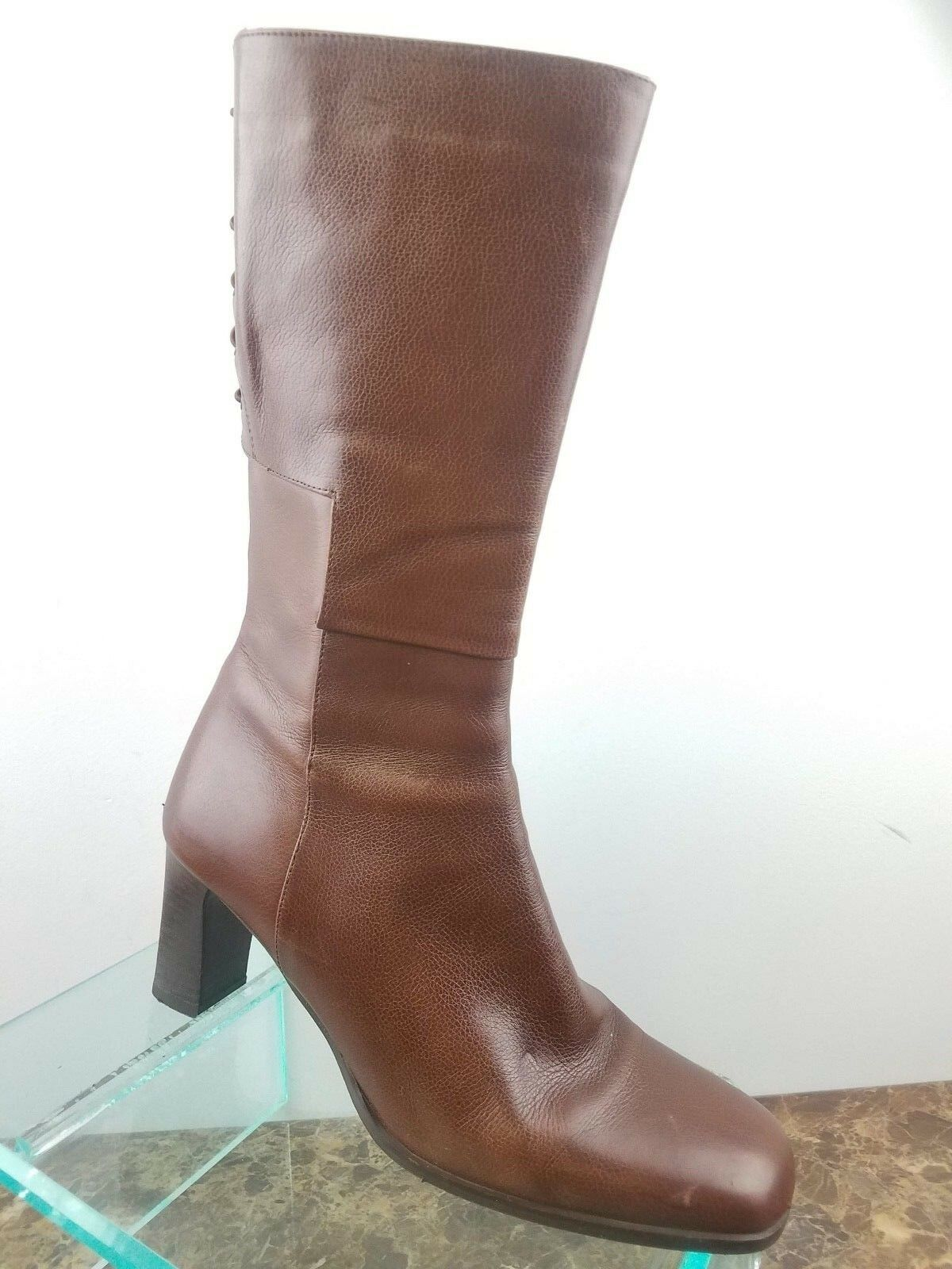 Sesto Meucci Brown Leather Square Toe Mid Calf Zip Up Lace Up Boots Womens 7.5M