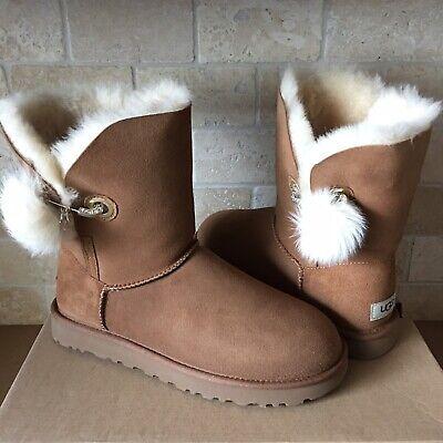 a5d9979b1e9 UGG Irina Swarovski Crystal Pin Bling Toscana Pom Chestnut Boots Size 8  Womens | eBay