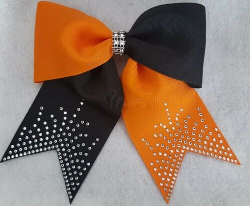 Orange and Black Rhinestone Hair bow Cheer Bow Dance Bow