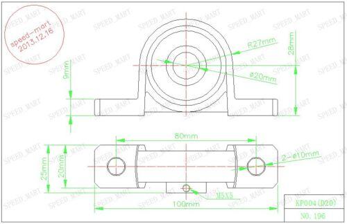 2 x 20mm Bore Ball Mounted Block Cast Housing Self-aligning Pillow Bearing 2PCS