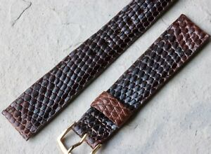 Stunning-varying-shades-brown-Genuine-Lizard-19mm-vintage-watch-strap-1950s-NOS