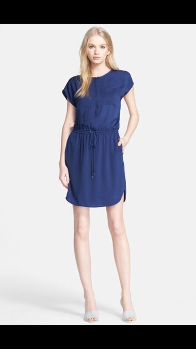 Vince Draw String Waist Short Sleeve Dress In bluee. Sz. Med. NWT