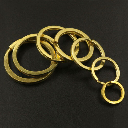 Solid Brass Round Split Double Loop Key Ring 15-38mm DIY Leather Craft Hardware